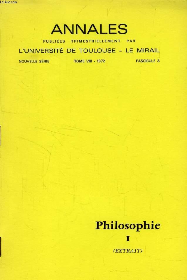 ETUDE CRITIQUE, LA PHILOSOPHIE BASTIDIENNE ET L'OUVRAGE POSTHUME DE G. BASTIDE (TIRE A PART)