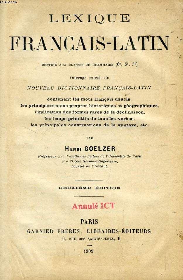 LEXIQUE FRANCAIS-LATIN, CLASSES DE GRAMMAIRE (6e, 5e, 4e)