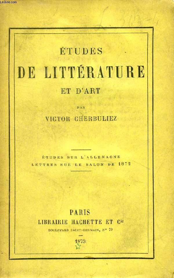ETUDES DE LITTERATURE ET D'ART