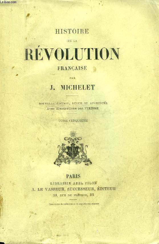 HISTOIRE DE LA REVOLUTION FRANCAISE, TOME V
