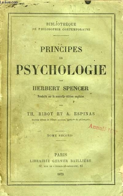 PRINCIPES DE PSYCHOLOGIE, TOME II