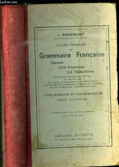 COURS PRIMAIRE DE GRAMMAIRE FRANCAISE