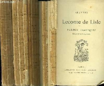 OEUVRES DE LECONTE DE LISLE : 4 VOLUMES : POEMES TRAGIQUES - POEMES ANTIQUES - POEMES BARBARES - DERNIER POEMES