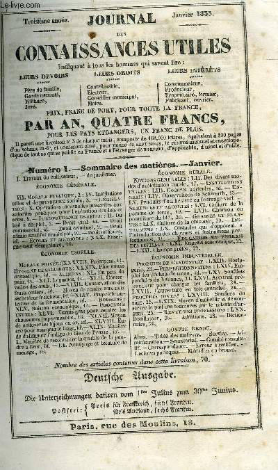 JOURNAL DES CONNAISSANCES UTILES  DE JANVIER A SEPTEMBRE 1833