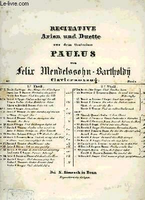 RECITATIVE ARIEN UND DUETTE AUS DEM ORATORIUM PAULUS