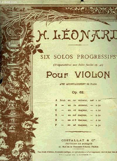SIX SOLOS PROGRESSIFS POUR VIOLON