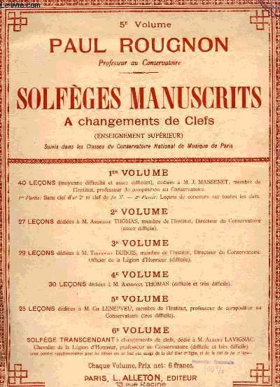 SOLFEGES MANUSCRITS A CHANGEMENTS DE CLEFS