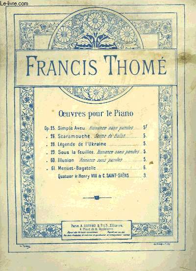 OEUVRES POUR LE PIANO