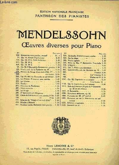 OEUVRES DIVERSES POUR LE PIANO