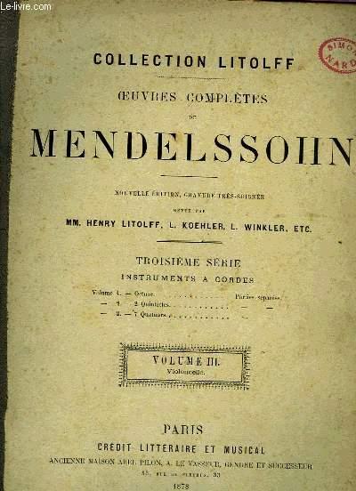 OEUVRES COMPLETES DE MENDELSSOHN