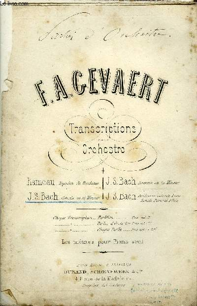 TRANSCRITPTIONS POUR ORCHESTRE