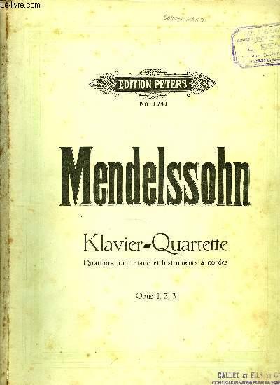 KLAVIER-QUARTETTE (QUATUORS POUR PIANO ET INSTRUMENTS A CORDES)