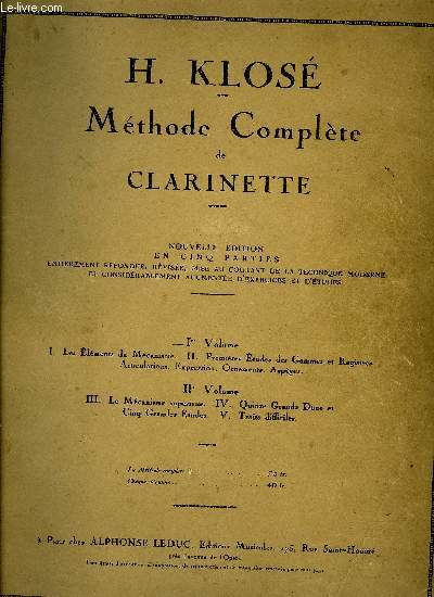 METHODE COMPLETE DE CLARINETTE IER VOLUME