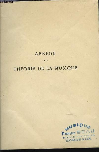 ABREGE DE LA THEORIE DE LA MUSIQUE