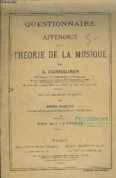 QUESTIONNAIRE, APPENDICE DE LA THEORIE DE LA MUSIQUE