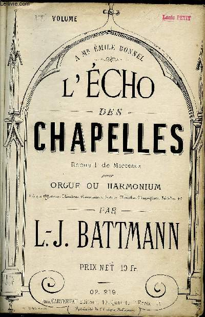 L'ECHO DES CHAPELLES 1ER VOLUME