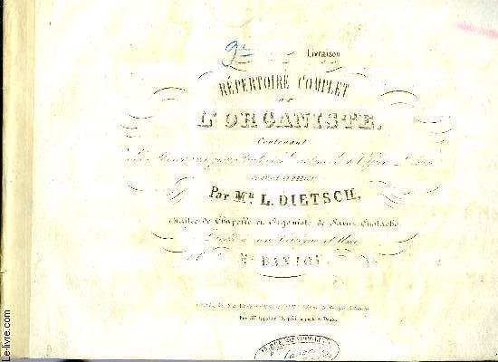 REPERTOIRE COMPLET DE L'ORGANISTE 2EME LIVRAISON