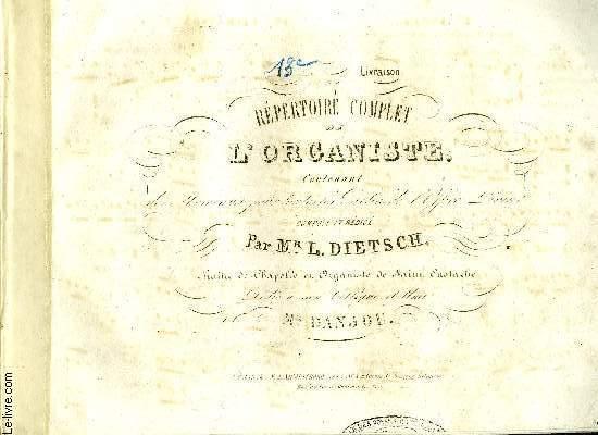 REPERTOIRE COMPLET DE L'ORGANISTE 13EME LIVRAISON
