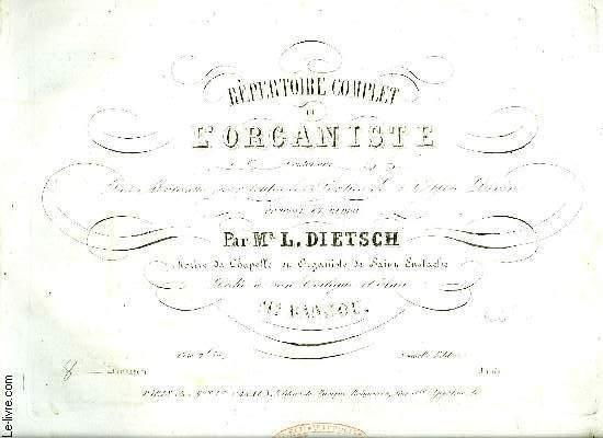REPERTOIRE COMPLET DE L'ORGANISTE 8EME LIVRAISON