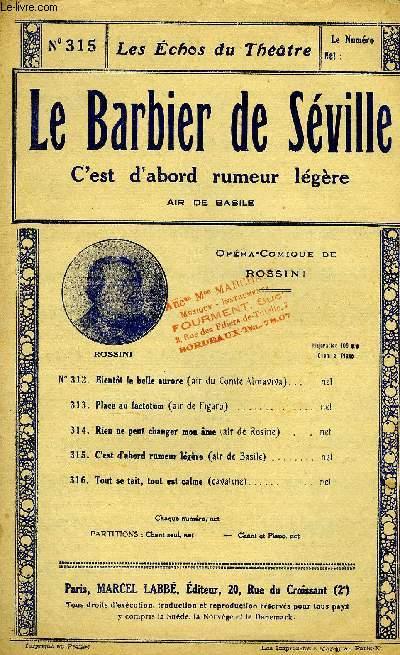 LES ECHOS DU THEÂTRE N°315. LE BARBIER DE SEVILLES. AIR DE BASILE
