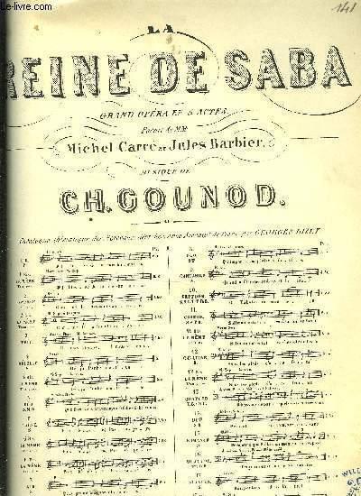 LA REINE DE SABA GRAND OPERA EN 5 ACTES poème de M.M Michel Carré et Jules Barbier N°9 CANTABILE pour chant et piano