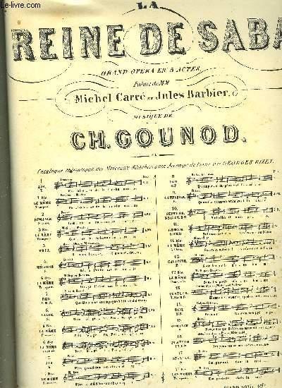 LA REINE DE SABA GRAND OPERA EN CINQ ACTES poème de M.M Michel Carré et Jules Barbier N°7 CAVATINE pour chant et piano