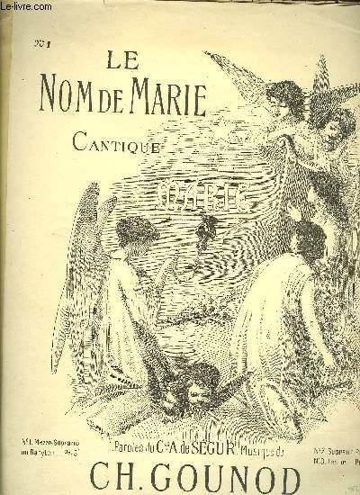 LE NOM DE MARIE Cantique pour SOPRANO chant et piano