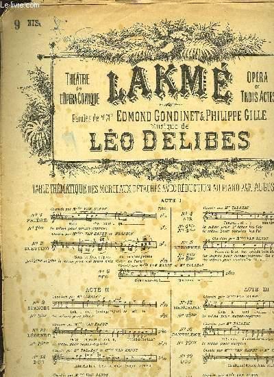 LAKME ACTE II N°9 bis STANCES pour tenor