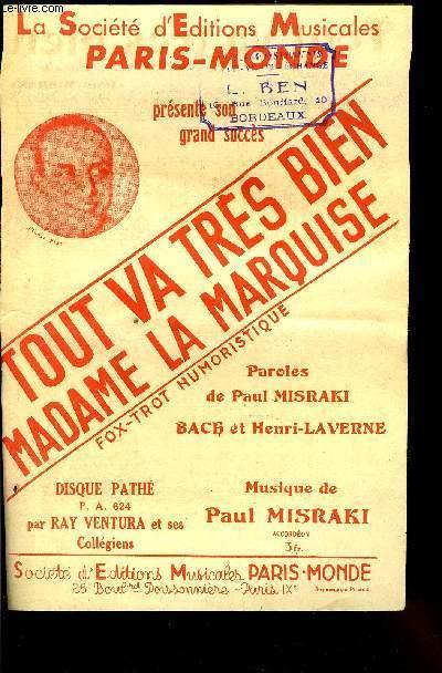 tout va tres bien madame la marquise fox trot humoristique partition pour le chant paul misraki
