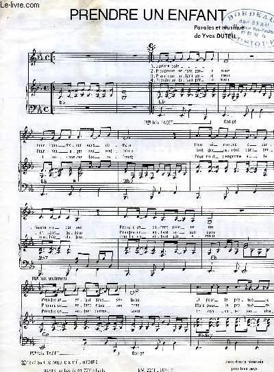 PRENDRE UN ENFANT partition pour le chant et mélodie