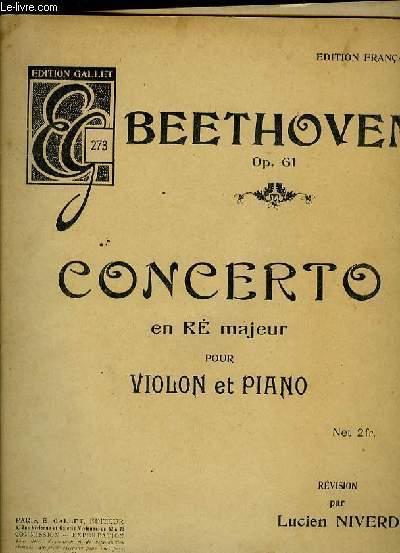 CONCERTO EN RE MAJEUR POUR VIOLON ET PIANO