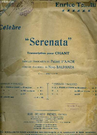 SERENATA chant et piano pour baryton
