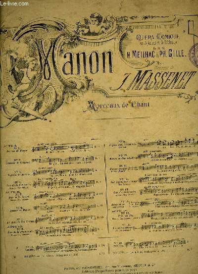 REGRETS DE MANON extrait de l'opéra-comique