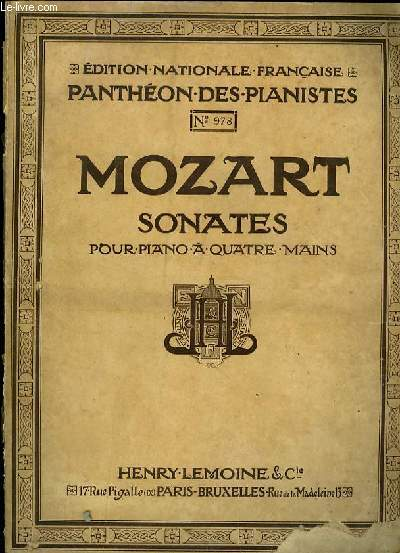 SONATES POUR PIANO A QUATRE MAINS édition nationale française panthéon des pianistes N°978