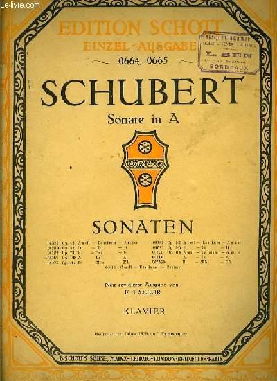 SONATEN OP.120. pour piano seul SONATE IN A ( en La)
