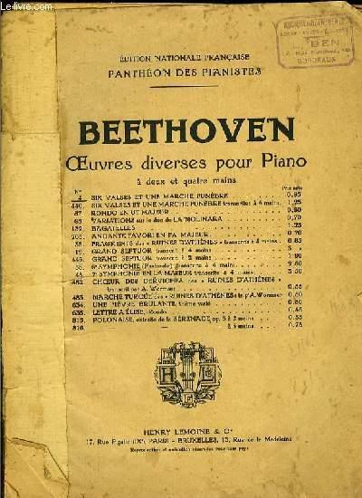 OEUVRES DIVERSES POUR PIANO: SIX VALSES ET UNE MARCHE FUNEBRE pour piano à 2 mains