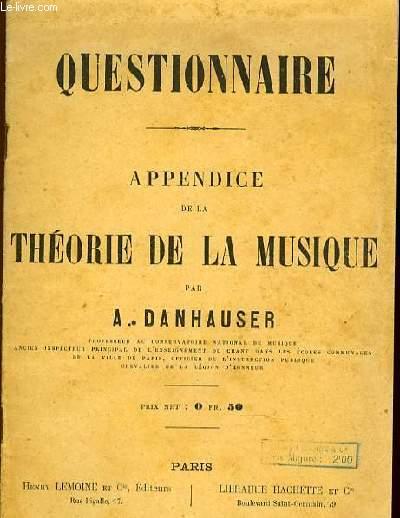 QUESTIONNAIRE appendice THEORIE DE LA MUSIQUE