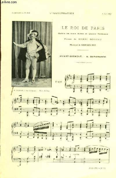 LE ROI DE PARIS pour piano seul SUPPLEMENT MUSICAL AU N°3041 A L'ILLUSTRATION DU 8 JUIN 1901