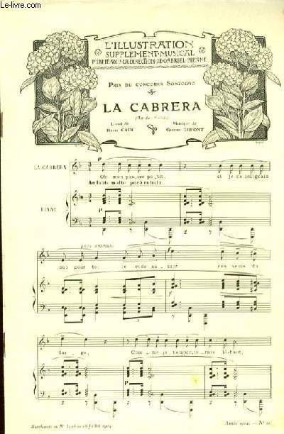 LA CABRERA pour piano et chant SUPPLEMENT MUSICAL A L'ILLUSTRATION