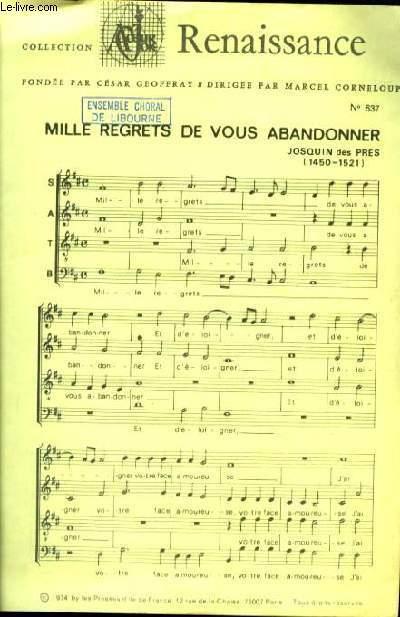 MILLE REGRETS DE VOUS ABNDONNER partition à quatre voix