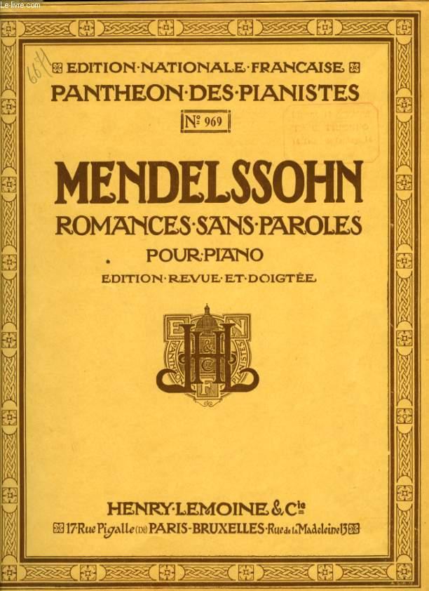 ROMANCES SANS PAROLES POUR PIANO edition revue et doigtée PANTHEON DES PIANISTES N°969