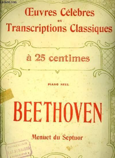 MENUET DU SEPTUOR pour piano OEUVRES CELEBRES ET TRANSCRIPTIONS CLASSIQUES