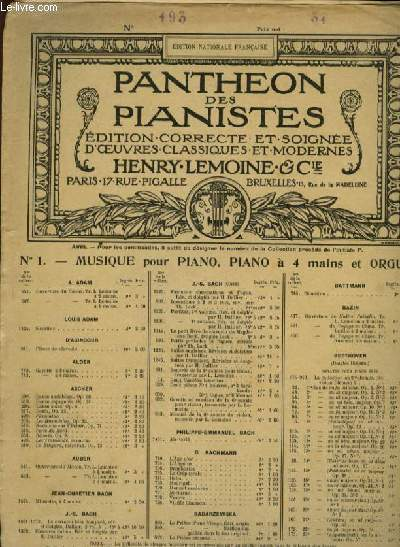 N°193. SONATINE EN FA MINEUR- F minor EDITION NATIONAL FRANCAISE PANTHEON DES PIANISTES
