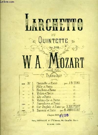 LARGHETTO du QUINTETTE OP.108 POUR BASSON ET PIANO