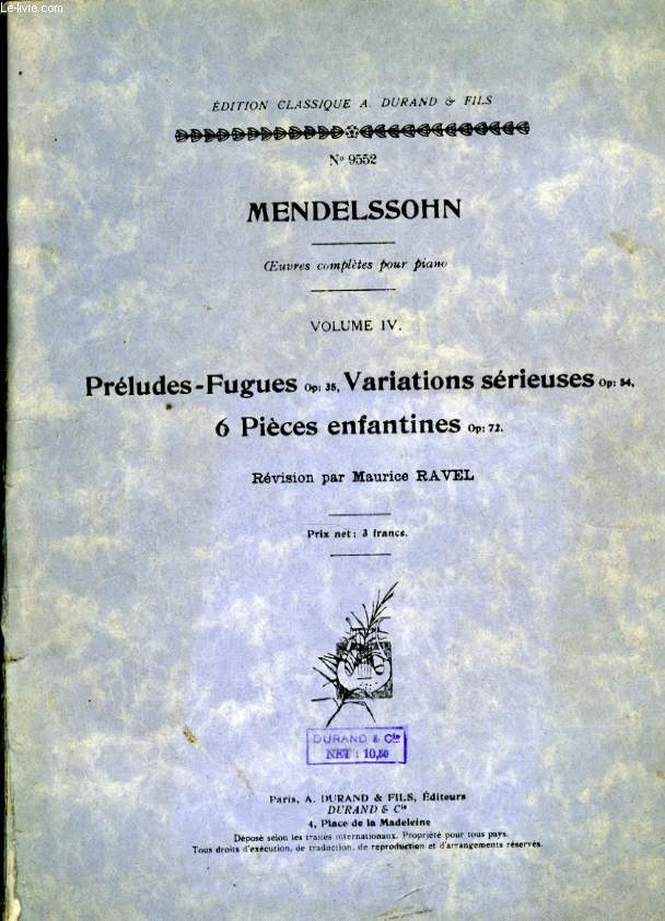 OEUVRES COMPLETES POUR PIANO VOLUM IV PRELUDES - FUGUES OP:36, VARIATIONS SERIEUSES OP: 54 6 PIECES ENFANTINES OP: 72