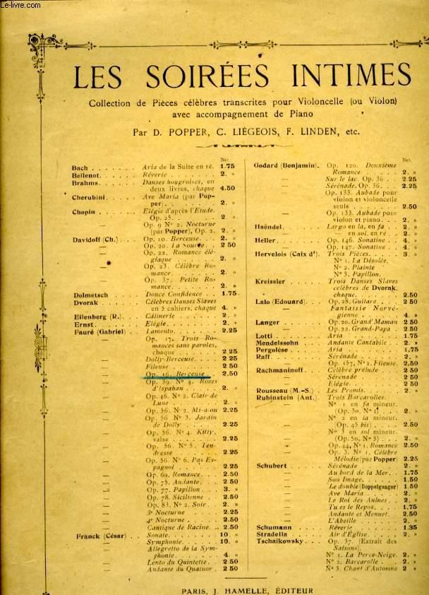 LES SOIREES INTIMES COLLECTION DE PIECES CELEBRES TRANSCRITES POUR VIOLONCELLE AVEC ACCOMPAGNEMENT DE PIANO OP.16. BERCEUSE.