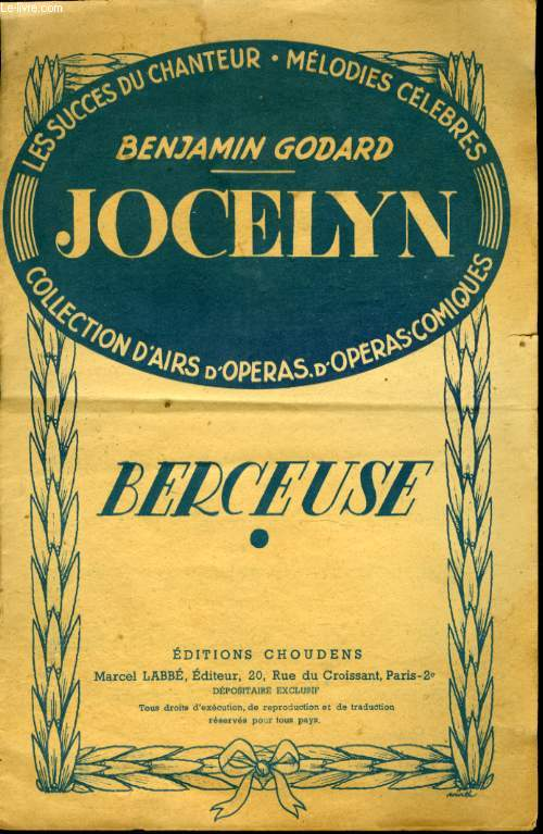 JOVELYN  GRAND OPERA EN 4 ACTES  BERCEUSE
