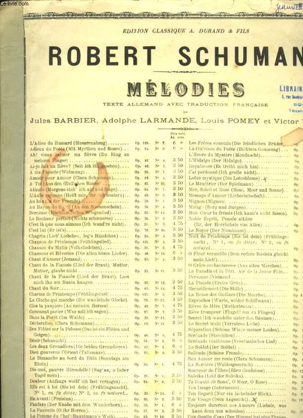 MELODIES  LE NOYER ( DER NUSSBAUM) OP 25 N°3