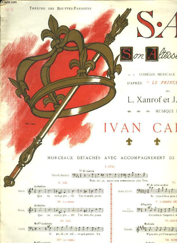 S.A.R. SON ALTESSE ROYALE COMEDIE MUSICALE EN 3 ACTES N°2