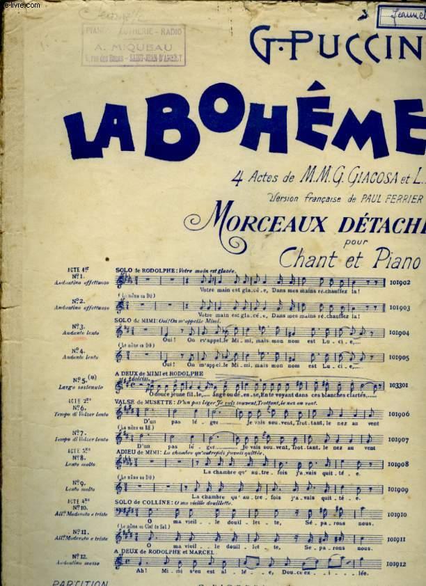 LA BOHEME MORCEAUX DETACHES POUR CHANT ET PIANO N°3